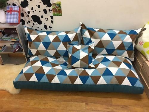 Set ghế lười hạt xốp sofa chữ nhật kẻ tam giác thô hàn SF010 (3)
