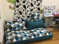 Set ghế lười hạt xốp sofa chữ nhật kẻ tam giác thô hàn SF010 (5)
