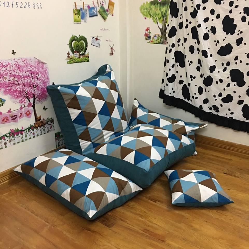 Set ghế lười hạt xốp sofa chữ nhật kẻ tam giác thô hàn SF010