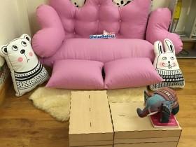 Set ghế lười hạt xốp sofa chữ nhật kaki hồng tím nhạt SF011 (5)