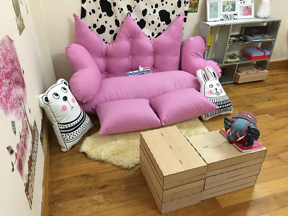 Set ghế lười hạt xốp sofa chữ nhật kaki hồng tím nhạt SF011