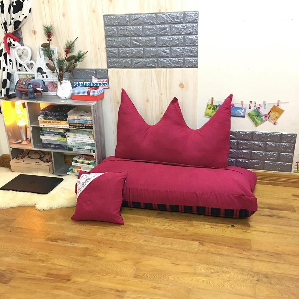 Bộ ghế hạt xốp sofa chữ nhật caro kẻ đỏ SF015