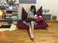 Bộ ghế hạt xốp sofa chữ nhật caro kẻ đỏ SF015 (7)