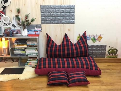 Bộ ghế hạt xốp sofa chữ nhật caro kẻ đỏ SF015 (8)