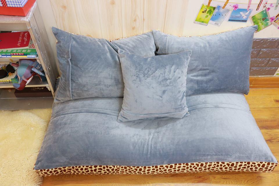 Ghế lười sofa chữ nhật chất nhung màu đốm-xám SF019