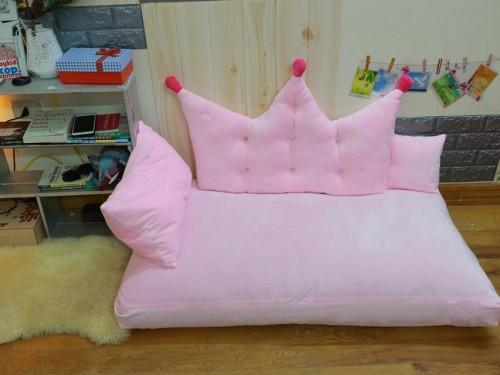 Set ghế lười sofa chữ nhật chất nhung màu hồng SF016 (1)