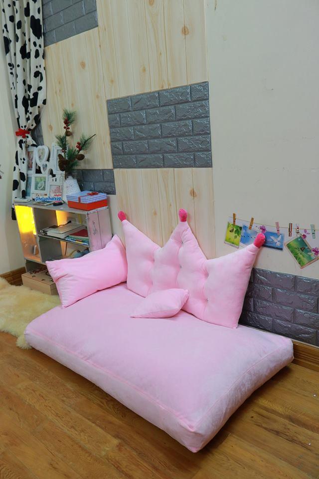 Set ghế lười sofa chữ nhật chất nhung màu hồng SF016
