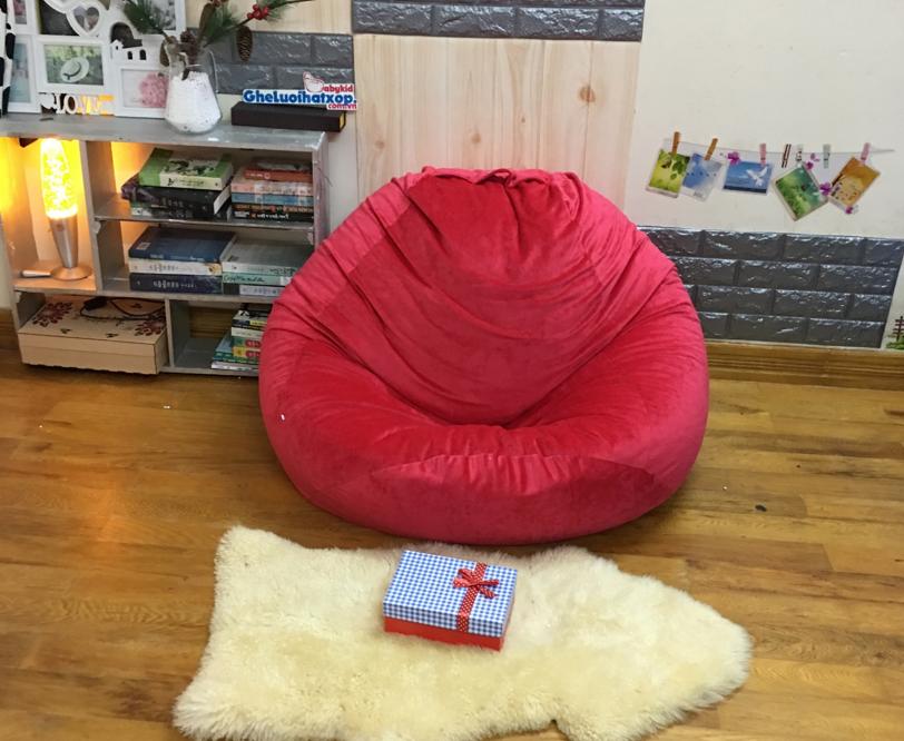 Ghế lười dáng lê chất nhung Hàn màu đỏ GL L143