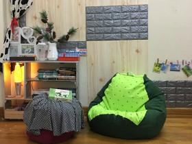Ghế lười dáng lê họa tiết cốm mèo pha xanh lá đậm GL L146 (2)
