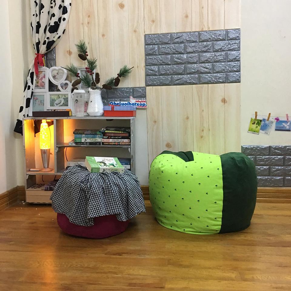 Ghế lười dáng lê họa tiết cốm mèo pha xanh lá đậm GL L146