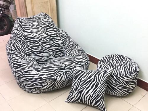 Ghế lười dáng lê họa tiết vằn ngựa đen trắng GL L144 (1)