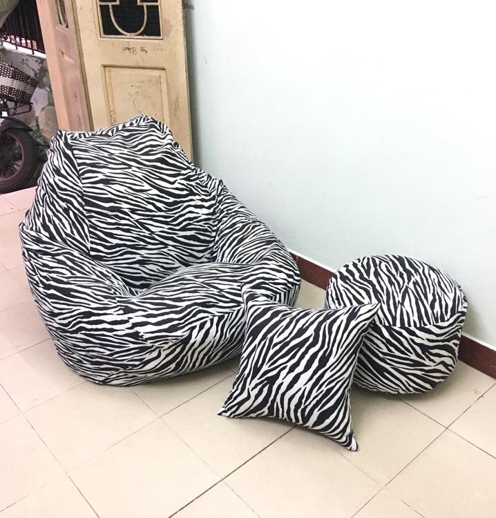 Ghế lười dáng lê họa tiết vằn ngựa đen trắng GL L144