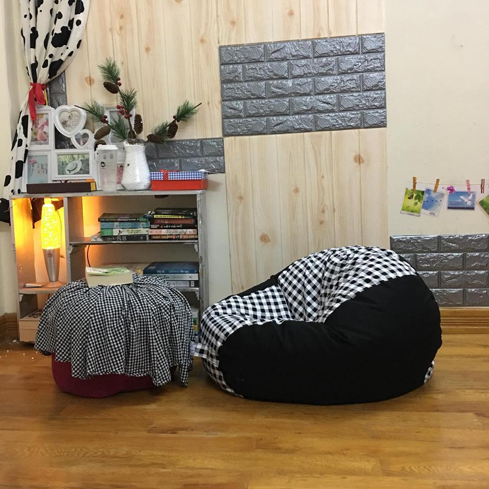 Ghế lười hạt xốp họa tiết caro đen trắng pha đen GL L149