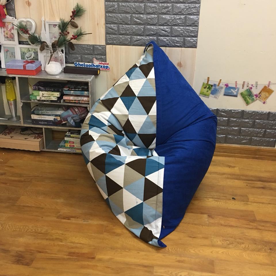 Gối lười hình chữ nhật tam giác pha xanh GL CN004