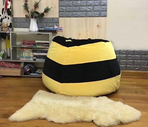 Ghế hạt xốp dáng lê ong vàng chất nhung GL L160 (2)