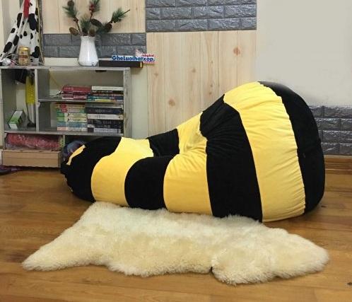 Ghế hạt xốp dáng lê ong vàng chất nhung GL L160