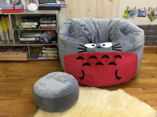 Bộ gối lười hạt xốp chất nhung hình Totoro xám đỏ GL L168 (2)