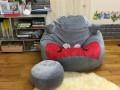 Bộ gối lười hạt xốp chất nhung hình Totoro xám đỏ GL L168 (3)