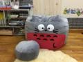 Bộ gối lười hạt xốp chất nhung hình Totoro xám đỏ GL L168 (4)