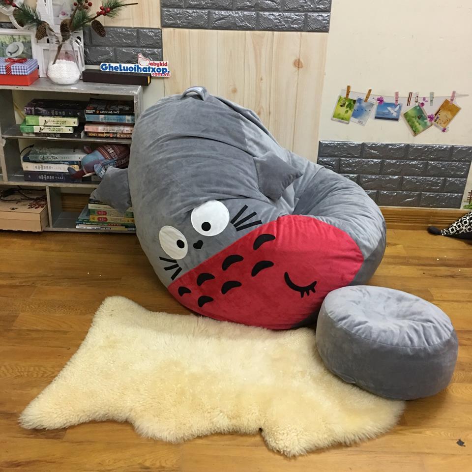 Bộ gối lười hạt xốp chất nhung hình Totoro xám đỏ GL L168