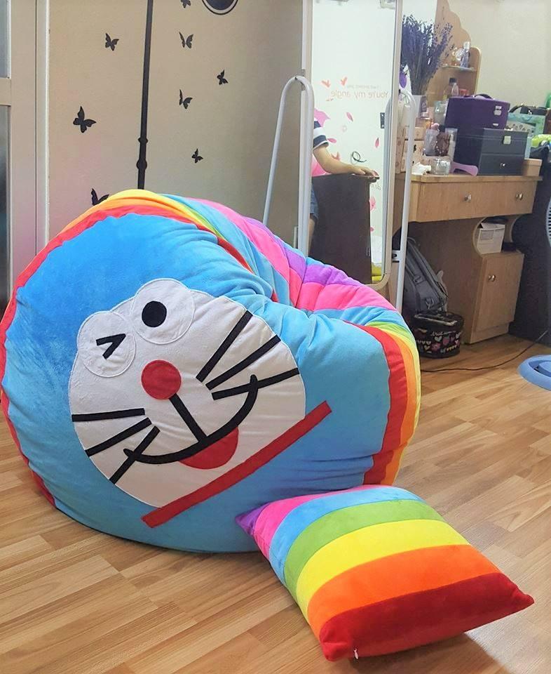 Ghế lười hạt xốp dáng tròn hình Doraemon GL T07