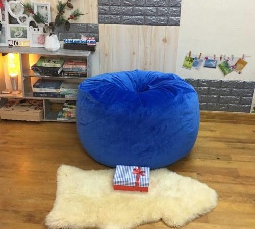 Ghế lười hạt xốp hình quả lê xanh coban nhung lạnh GL L165 2