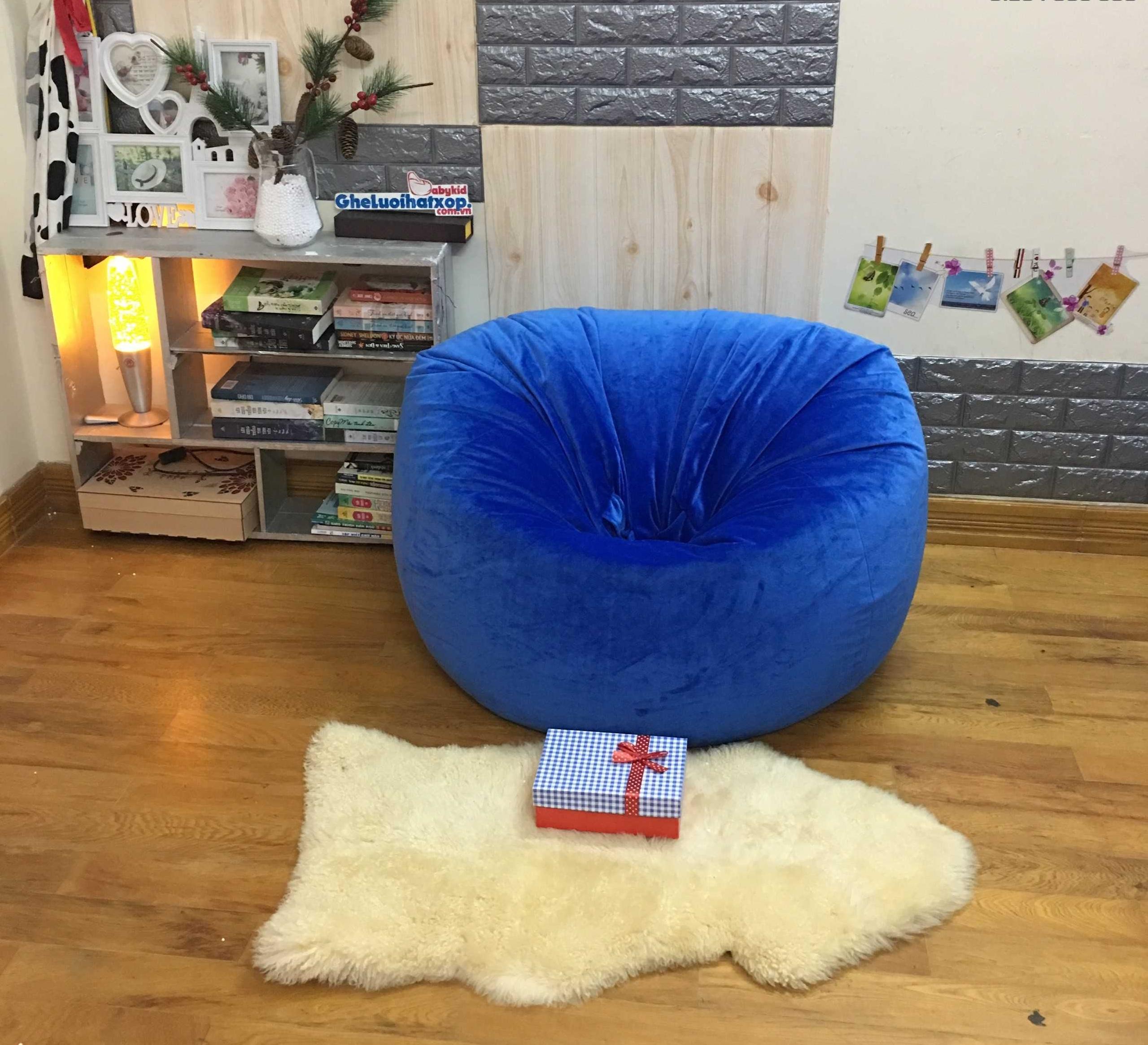 Ghế lười hạt xốp hình quả lê xanh coban nhung lạnh GL L165